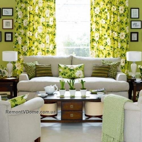 Салатный цвет в гостинной фото