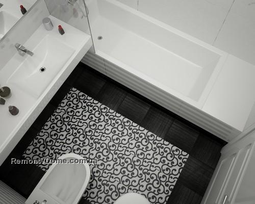 Дизайн маленькой черно-белой ванной комнаты фото